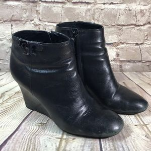 TORY BURCH BOOTS Wedge BLACK SIZE 8.5